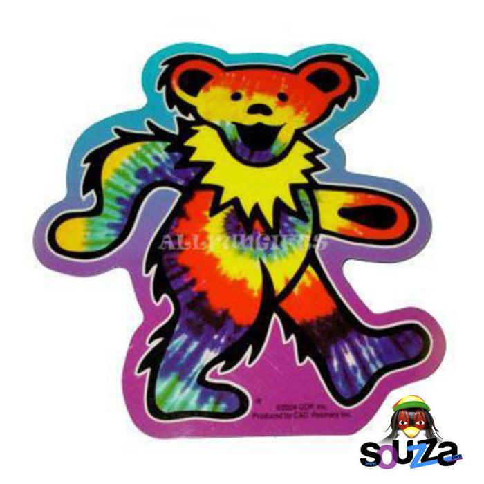 "Bear Shape Grateful Dead Tie-Dye Bear Sticker - 5"" x 4.5"""