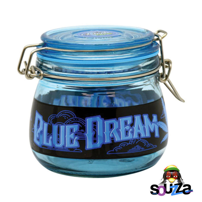Dank Tank Small Herb Glass Storage Jar - Blue Dream Design with Blue jar and lid