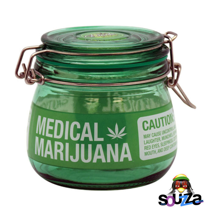 Dank Tank Small Herb Glass Storage Jar - Medical Marijuana Design with Green Jar and Green Label