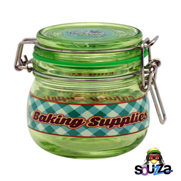 Dank Tank Small Herb Glass Storage Jar - Baking Supplies Green jar and blue label