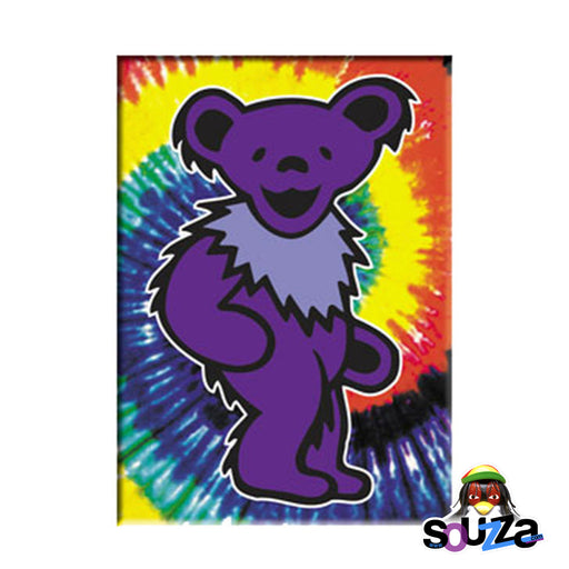"Grateful Dead Purple Bear On Tie Dye Magnet - 2.5""x3.5"""