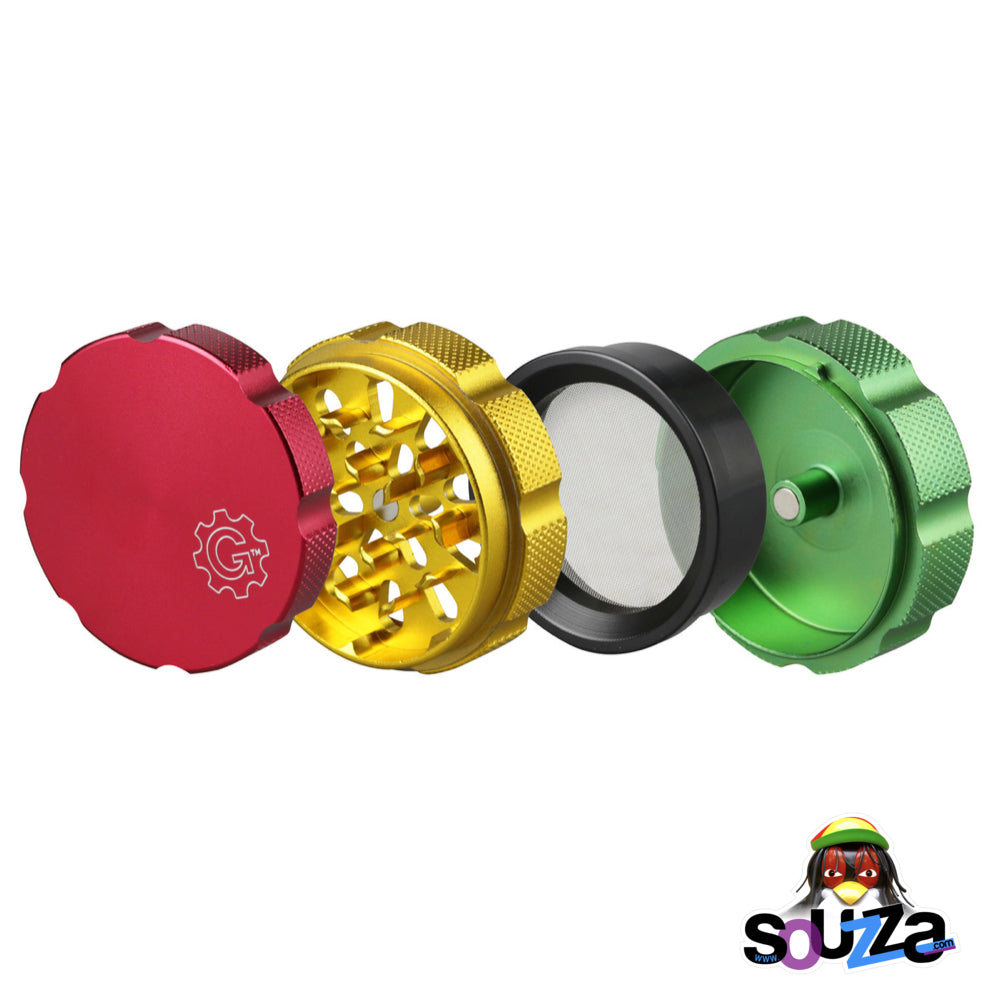 "Grindhouse Magnetic Supreme 4 Piece Grinder 2.5"" - Multiple Colors Rasta Open"