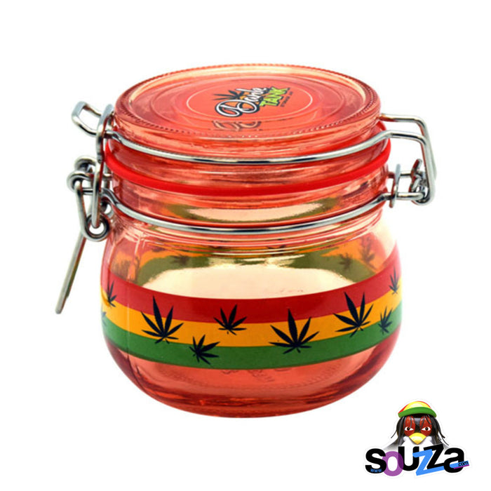 Dank Tank Small Herb Glass Storage Jar - Rasta Leaf Design with red seal