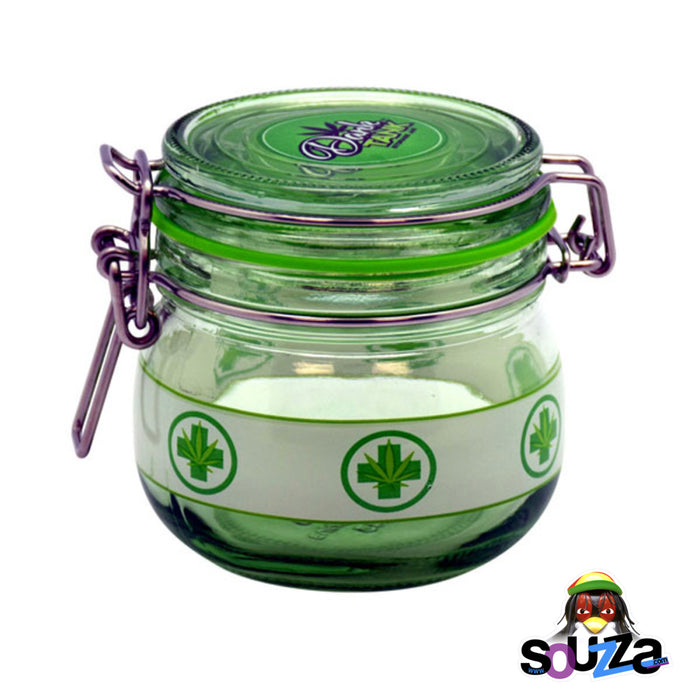 Dank Tank Small Herb Glass Storage Jar - Medical Leaf Design with green seal