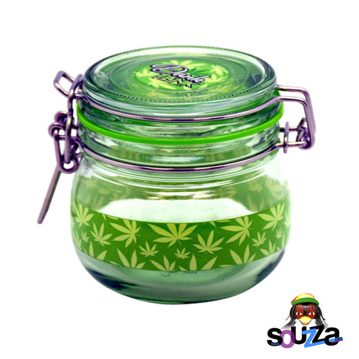 Dank Tank Small Herb Glass Storage Jar - Hemp Leaf Design with a green seal