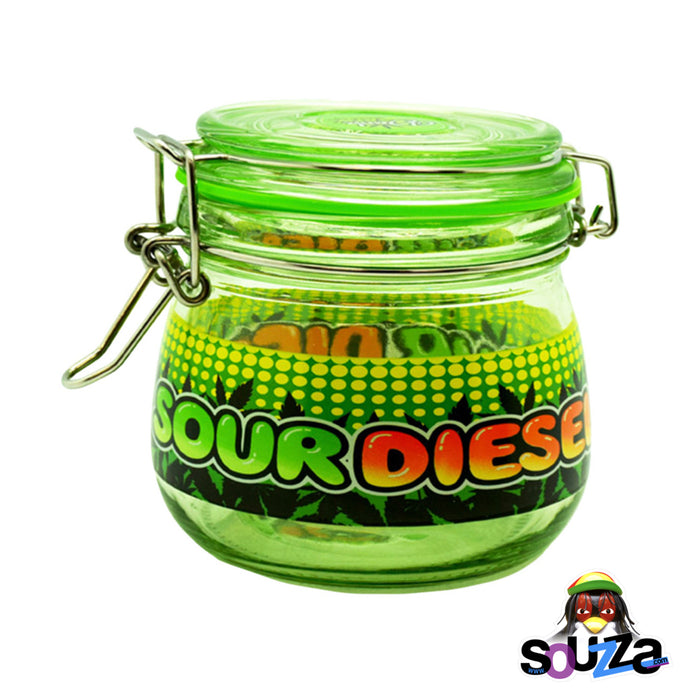 Dank Tank Small Herb Glass Storage Jar - Sour Diesel Design with Green jar and lid