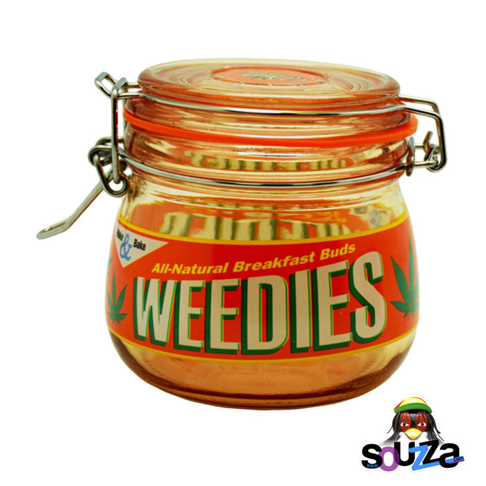 Dank Tank Small Herb Glass Storage Jar - All Natural Breakfast Buds, Weedies Design with Orange Glass and Orange Label