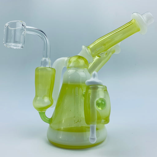 Tri Pawd Glassworks Multi-Colored Hand Blown Rig - Roswell & White