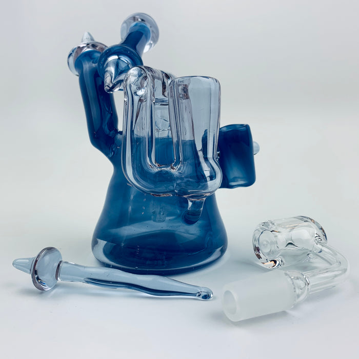 Tri Pawd Glassworks Multi-Colored Hand Blown Rig - Gemini & Purple Urple
