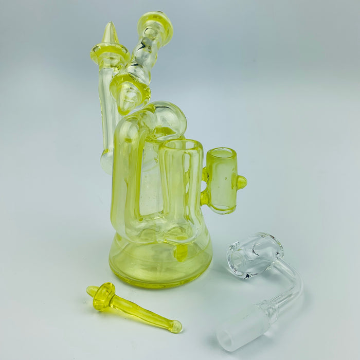 Tri Pawd Glassworks Multi-Colored Hand Blown Rig - Solar Flare & Roswell