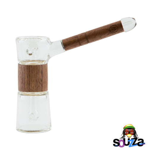 MARLEY NATURAL™ Glass and Walnut Bubbler Side View Fully Assembled
