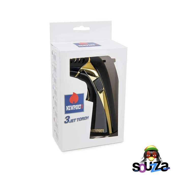 Newport 3 Jet Triple Flame Torch - Black and Gold with Packaging