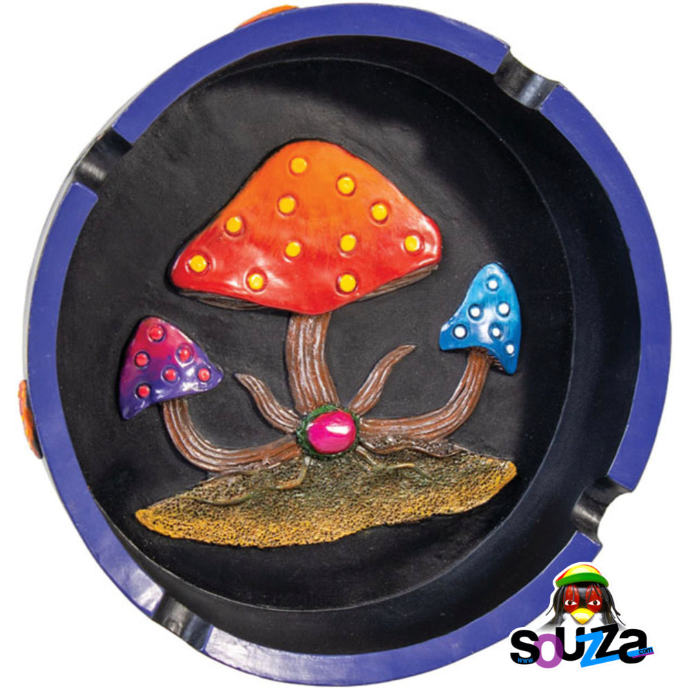 Polyresin Round Mushroom Ashtray - 5.75""