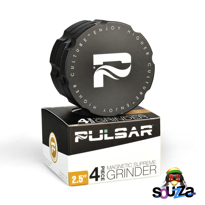 "Pulsar Magnetic Supreme Grinder | 4pc | 2.5"" With Box and Packaging Black Color"