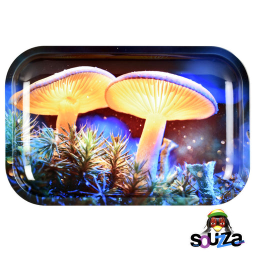 "Pulsar Mystical Mushrooms Metal Rolling Tray 11"" x 7"""