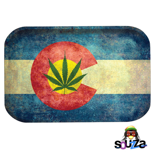 "Pulsar Colorado Flag Metal Rolling Tray - 11""x7"" / Medium"