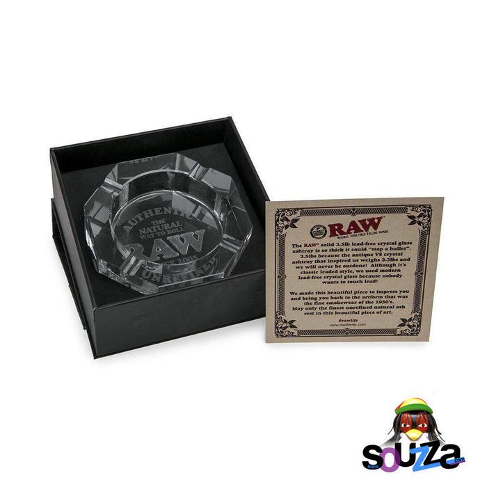 RAW Crystal Glass Ashtray in gift box with a note from RAW