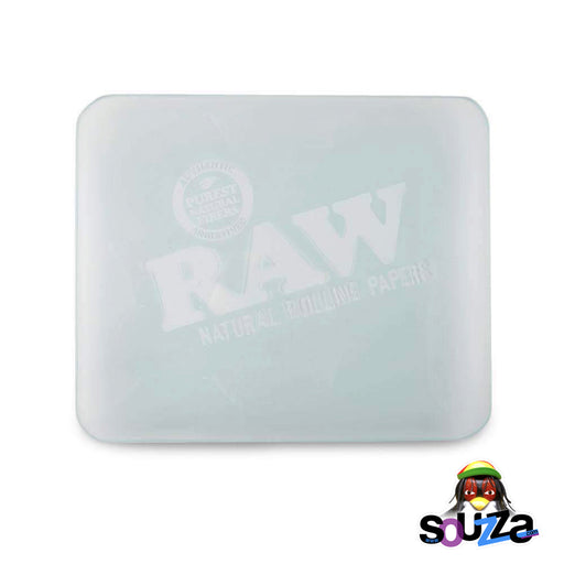 "RAW Double Thick Glass Rolling Tray Frosted 13"" x 11"" Front Top View"