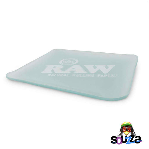 "RAW Double Thick Glass Rolling Tray Frosted 13"" x 11"" Glass Thickness View"