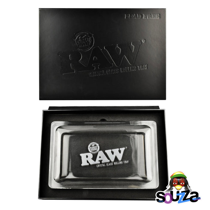 "RAW Lead-free Crystal Glass Rolling Tray - 11"" x 7"" in gift box"