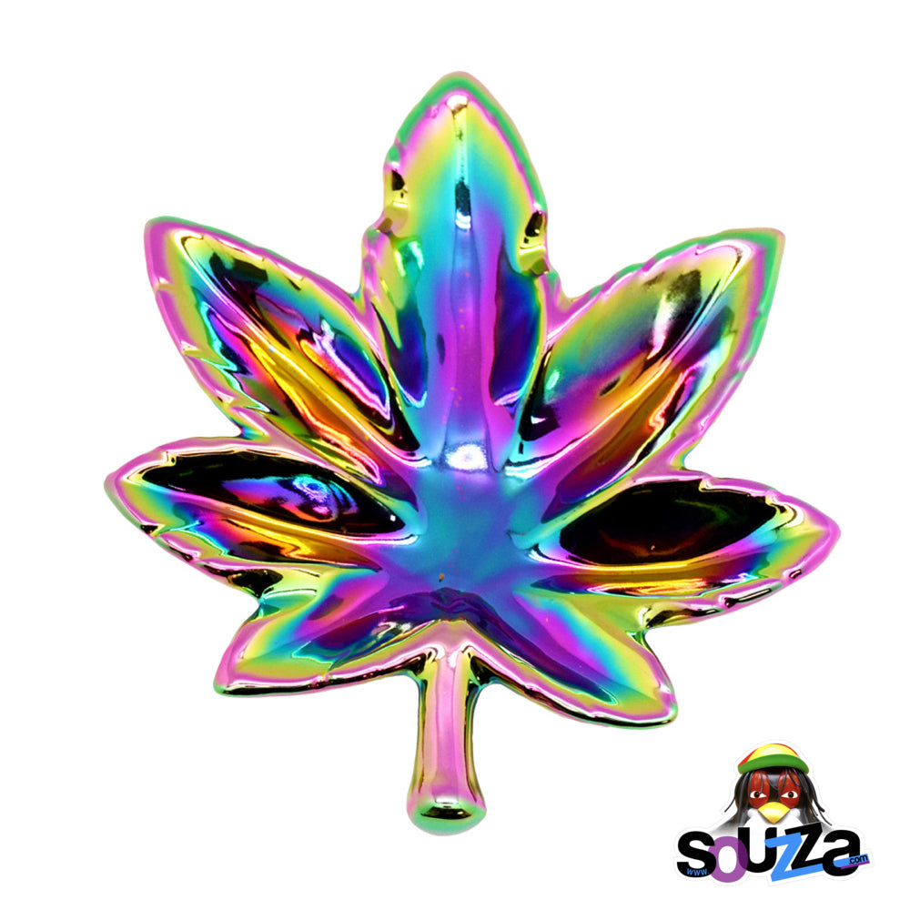 Rainbow Iridescent Hemp Leaf Ashtray made from ceramic - ceramic ashtray