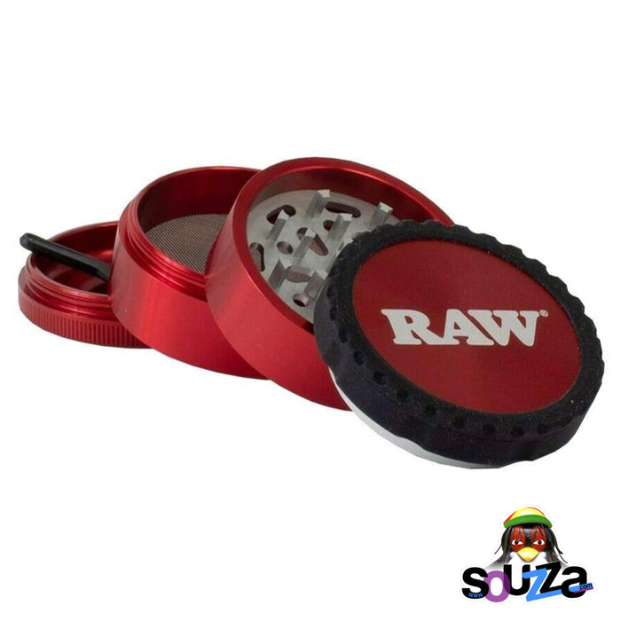 "Raw Life Modular Rebuildable Grinder 2.5"" - Red Opened into 4 pieces"