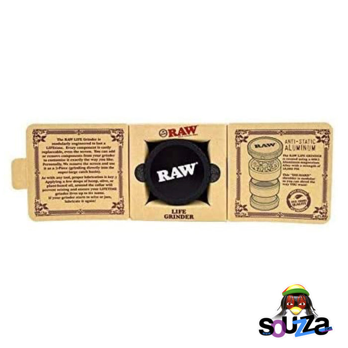 "Raw Life Modular Rebuildable Grinder 2.5"" - Black inside box packaging"