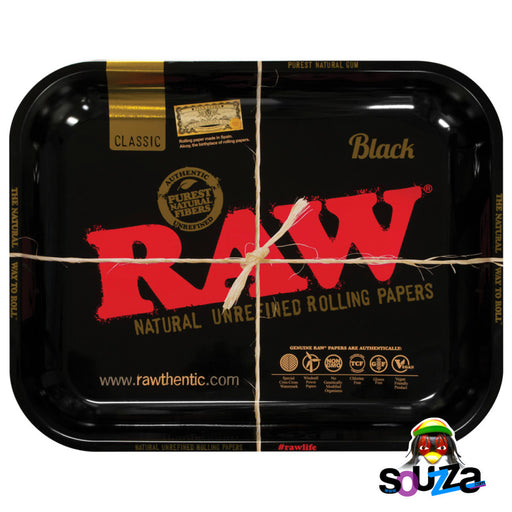 "Raw High Sided Steel Rolling Tray - Large Black 14"" x 11"""