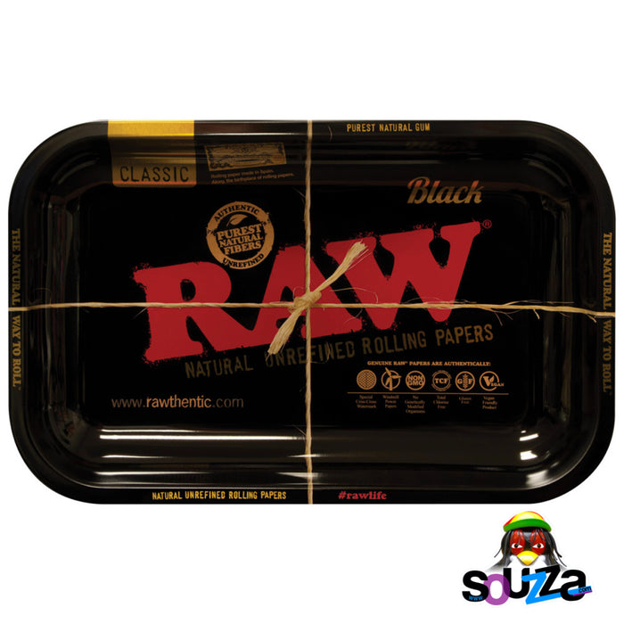"Raw High Sided Steel Rolling Tray - Small Black 11"" x 7"""
