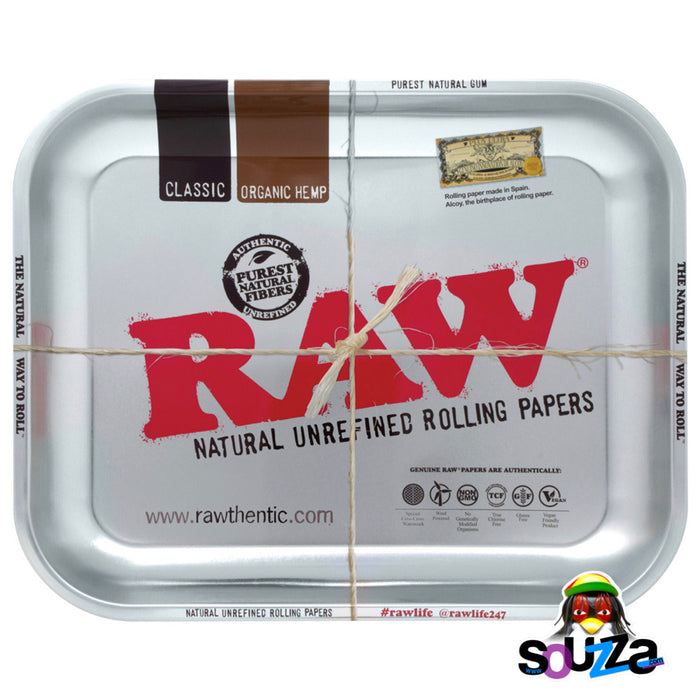 "Raw High Sided Steel Rolling Tray - Large Silver 14"" x 11"""