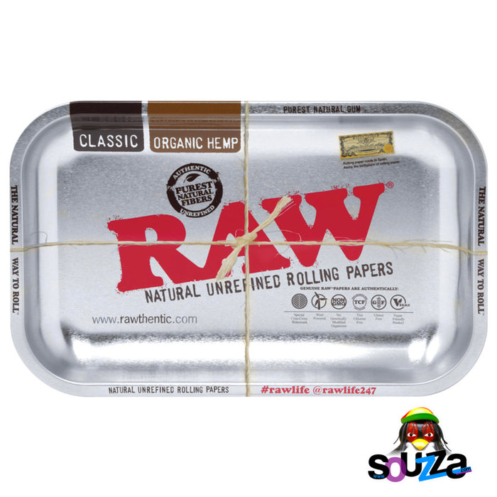 "Raw High Sided Steel Rolling Tray - Small Silver 11"" x 7"""