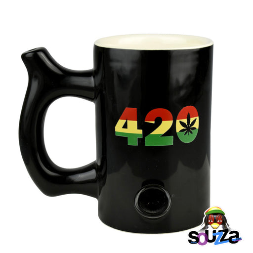 Roast and Toast Mug Pipe - Black and Rasta 420
