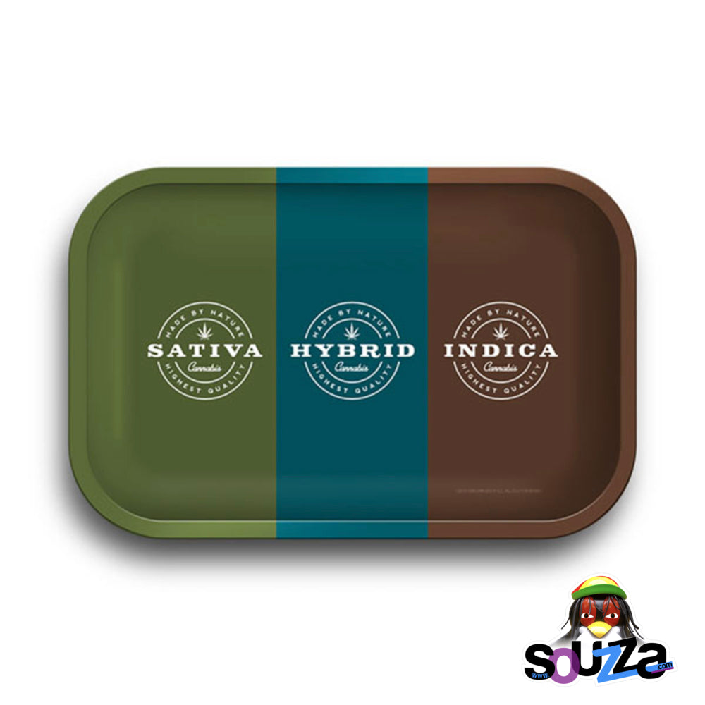 "Sativa, Hybrid, Indica Rolling Tray - 11.25""x7.25"""