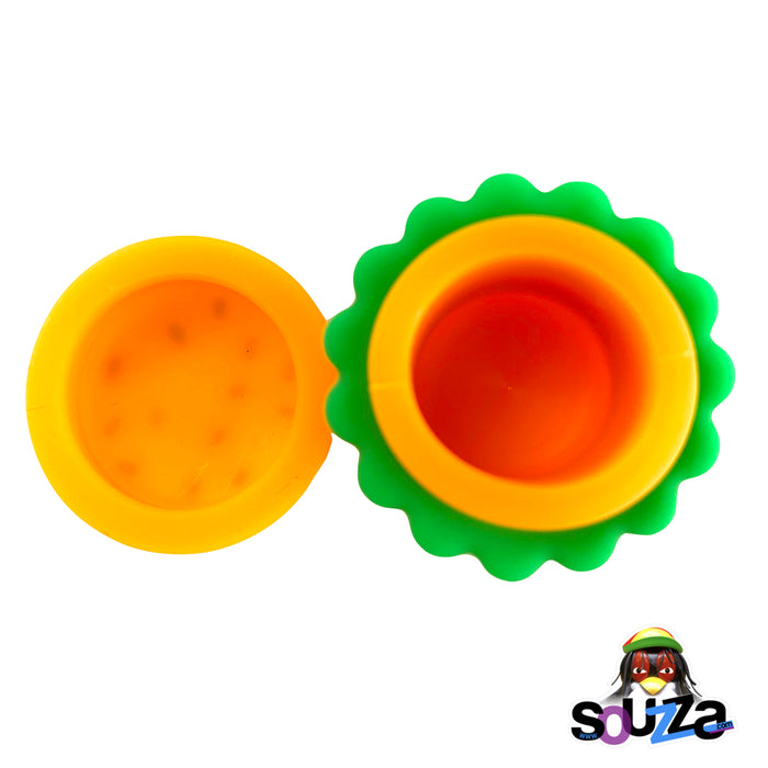 Silicone Hamburger Storage Container - 5ml  Open View with lid from top view