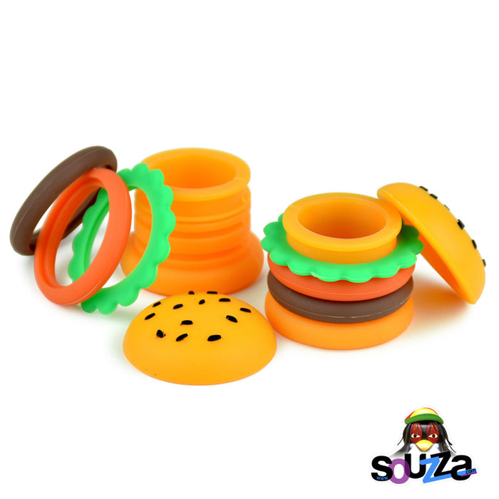 Silicone Hamburger Storage Container - 5ml  Multiple containers next to each other, open and dissembled