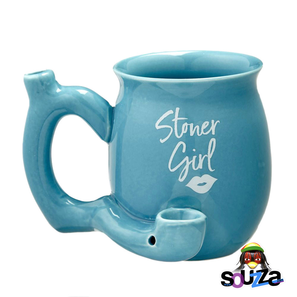 Stoner Girl Ceramic Mug Pipe - Blue