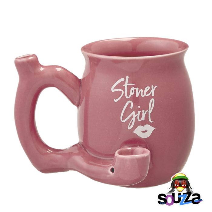 Stoner Girl Ceramic Mug Pipe - Red