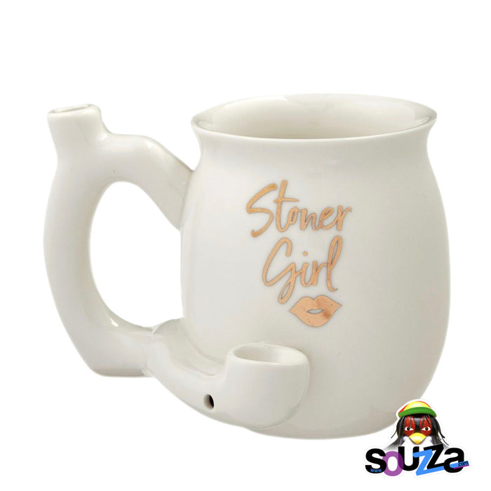 Stoner Girl Ceramic Mug Pipe - White