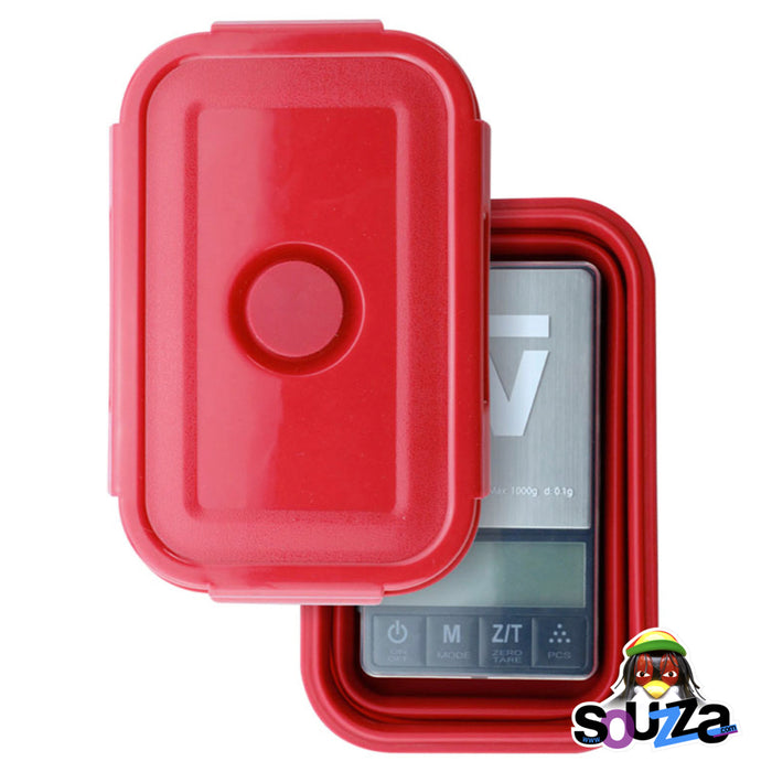 Truweigh Crimson Collapsible Bowl Scale - 1000g x 0.1g with red silicone container kit
