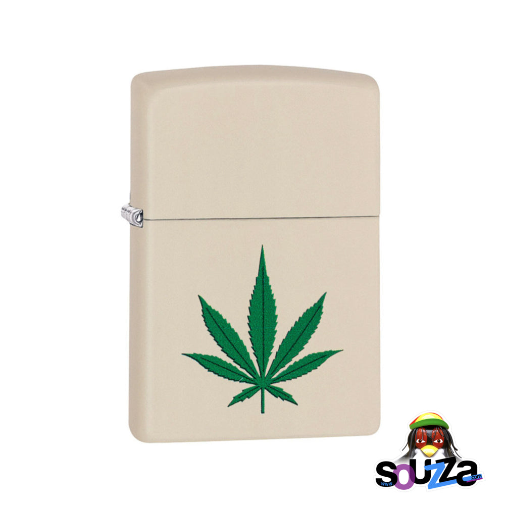 Zippo Lighter - Hemp Weed Leaf - Cream Matte
