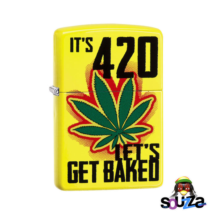 Zippo Lighter - Let's Get Baked - Lemon Finish