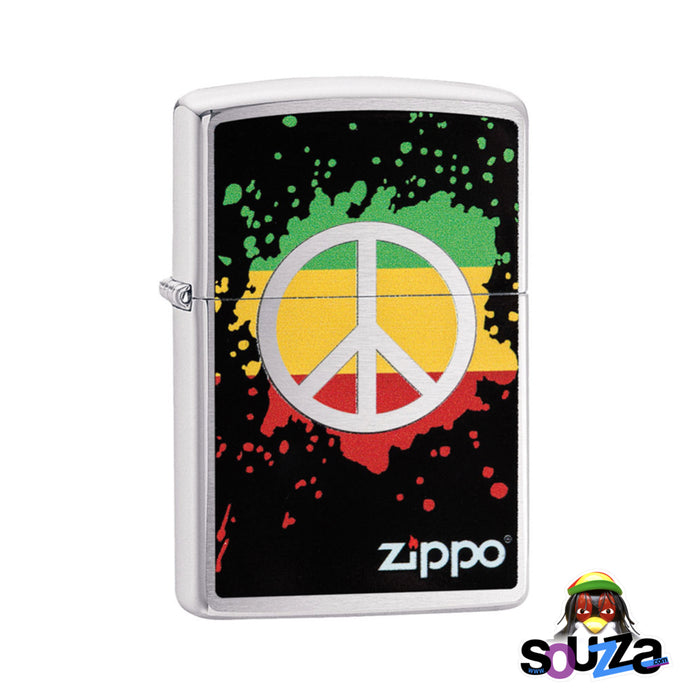 Zippo Lighter - Rasta Peace Sign - Brushed Chrome