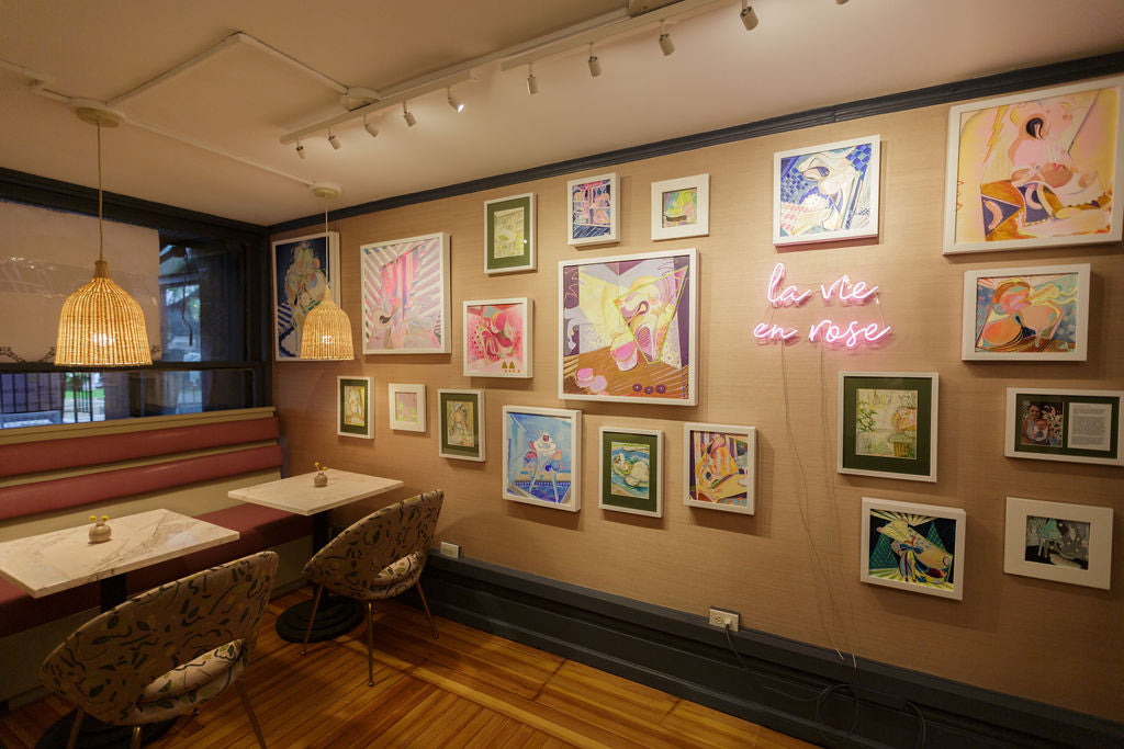 Cafe with pink artwork, Palette NY