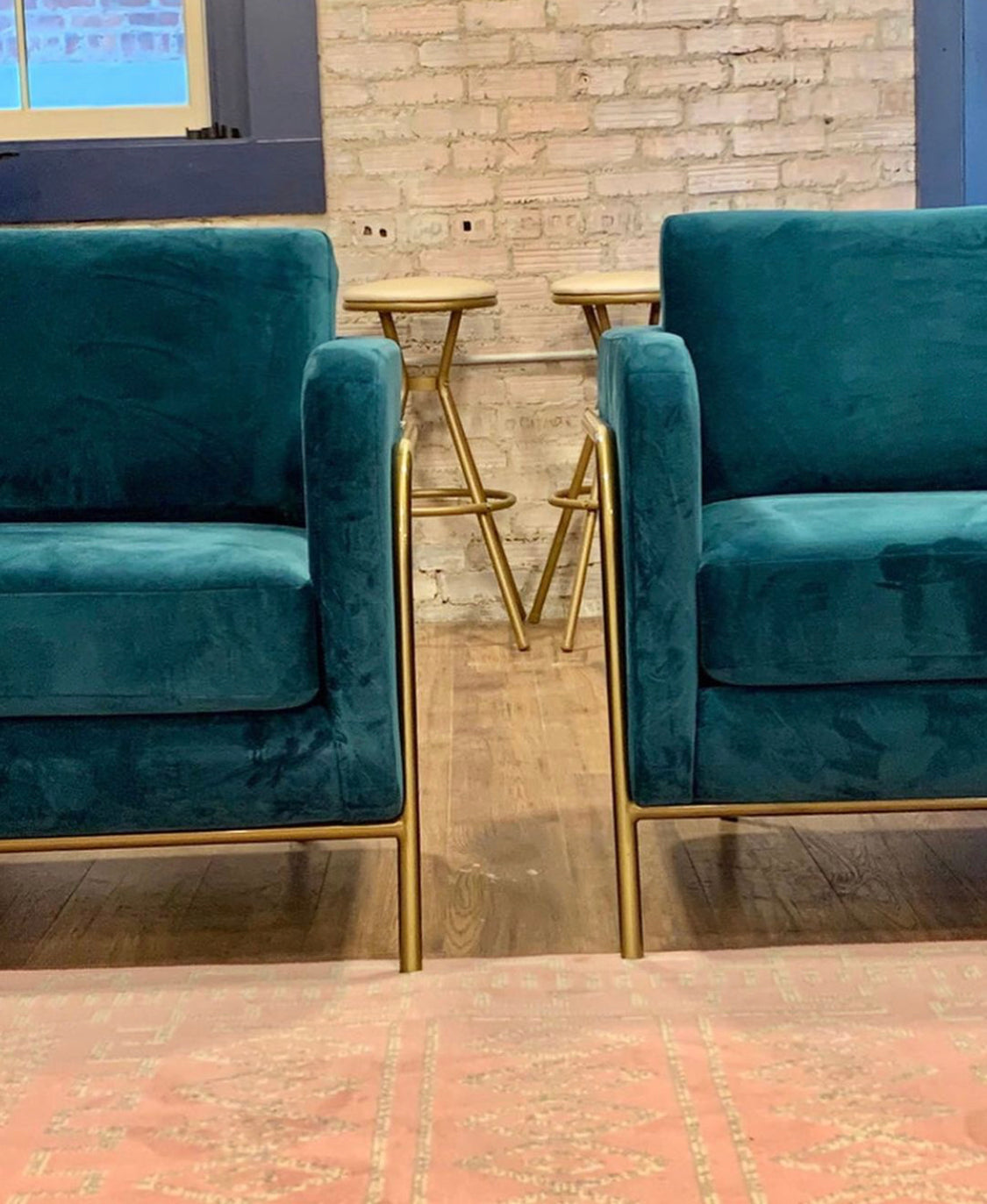 Teal Bend Lounge Chairs at Palette Coworking Cafe