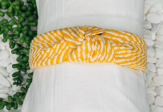 Embroidered Headband - Mustard