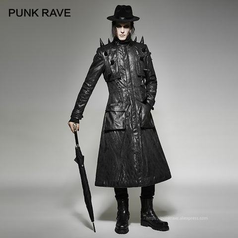 Heavy Punk Leather Spiked Coat - True crime shop