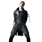 Gothic Leather Long Long Sleeve Trench Coat - True crime shop