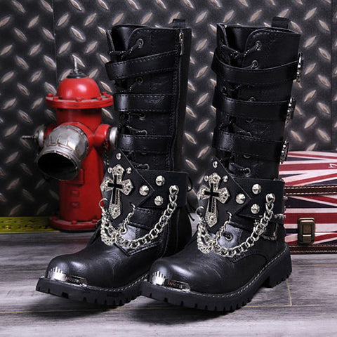 Gothic metal high boots - True crime shop