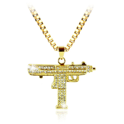 New Uzi Gun Cross Pendant Necklaces Long Cuban Link Chain Fashion Necklace For Unisex Hip Hop Jewelry - True crime shop