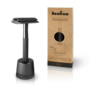 Load image into Gallery viewer, Bambaw Safety Razor med holder sort